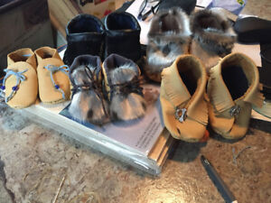 Beautiful hand made children's leather slippers.