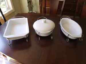 Set of 3 White Ceramic Dishes & Stands