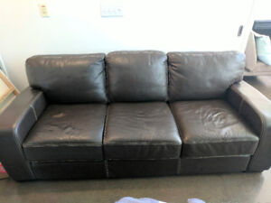 Brown Faux Leather Sofa - Pick up only