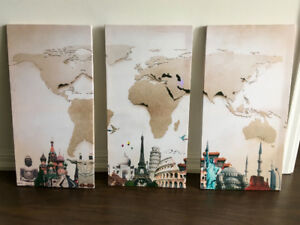 3-Piece World Map Canvas