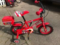 "Boys 12"" Fire Rescue Bike - barely used"