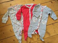 Baby Girl NEXT Sleepsuits - Up To 1 Month