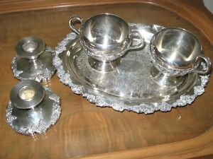 silver-plated tray/cream & sugar, grape design, candle holders