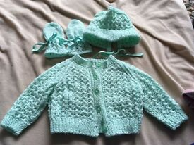 Knitted bonnet mittens and cardigan approx 6-9 months