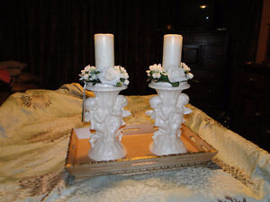 Beautiful Pair of Candle Stands includes candles and flowers!