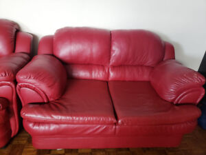 Bonded Leather Sofa Chair and Love Seat