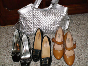 Ladies shoes size 6.5, silver handbag, assorted prices