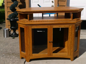 Oak wood tv stand with cabinet