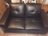 Faux leather two seater black sofa -2 available