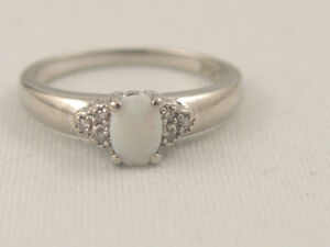 Solid 10K White Gold Opal and Diamond Ring