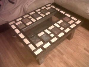 Maple Tile Top with Curved Glass Coffee Table