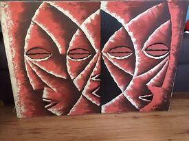 Tribal mask canvas painting