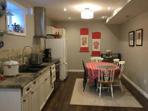 Beautiful high ceiling furnished basement apartment in Brooklin