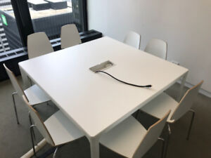 IKEA BEKANT Conference table with 8 VILMAR Stacking Chairs