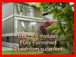UBC - 5 minute - 2 Bedroom Suite - Fully Furnished