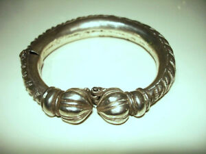 SILVER mid-late 19thC ETHNIC TRIBAL Bracelet Bangle RAJASTHAN