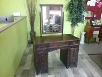 Beautiful Oak Veneer Dressing Table With Mirror & Drawers - Can Deliver For £19