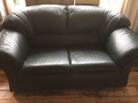 Black/grey/charcoal two-seater leather sofa