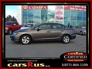 2013 Honda Civic LX  2 year Unlimited km warranty included!