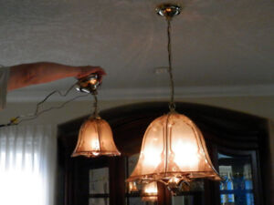 Lovely Vintage Chandelier with matching Pendant Light