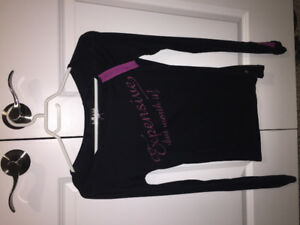 Lady Dutch  Black with purple longsleeve shirt.  Size M