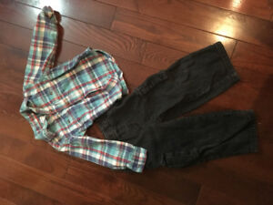 Size 3 Cargo Jeans and Flannel Dress shirt
