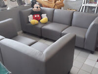 5 PCE MODULAR PLEATHER COUCH & LOVE SEAT - USED 3 WEEKS