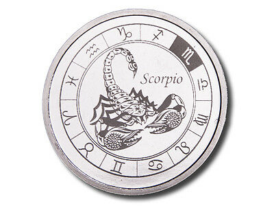 Zodiac Horoscope   Scorpio   1 Oz  999 Silver Bu Round Usa Made Bullion Coin