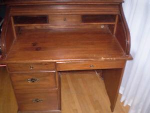 Solid Pine Roll Top Desk