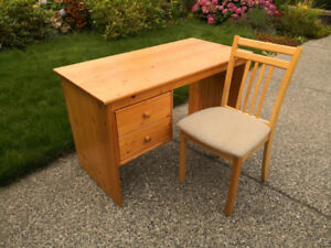 Solid wood desk with wood chair