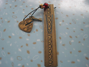 Vintage Brass Heart and Key Bookmark Ruler