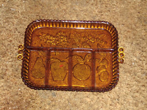 Vintage amber cheese and cracker platter