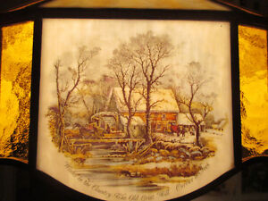 """Antique Currier & Ives Ceiling Lamp Stain Glass Shade Dia. 20.5"""" Stratford Kitchener Area image 8"""