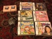 Pink Nintendo ds lite & 8 games & charger