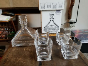 MIKASA In Box Decanter and Matching Glass Set