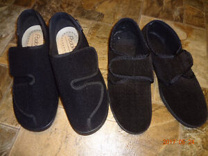MEN'S BLACK SLIPPERS (two pairs)