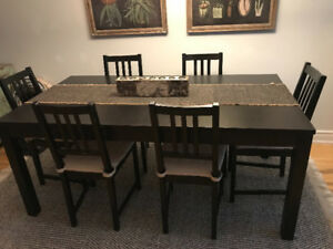 Extendable ikea dining table seats from 6 to 10 people.
