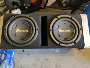 "2 10"" subs in a ported box and amplifier"