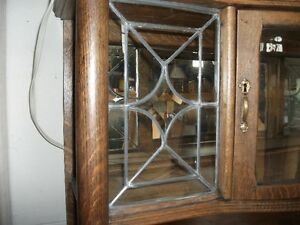 OLD OAK SIDEBOARD With LEADED GLASS Belleville Belleville Area image 5