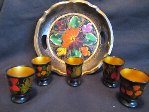 Hand painted Russian art tray with 5 egg cups