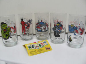 5 different 1980's GHOSTBUSTERS II Drinking Glasses