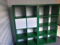2 x Ikea Kallax Storage Cubes with drawer and door Green