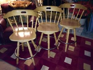 "3 Swivel top solid maple bar stools 26.5"" tall"