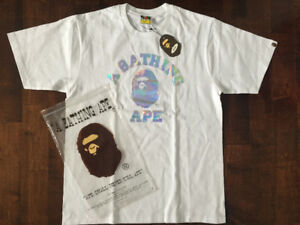 Bape Hologram College Tee White - Large