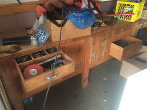SOLID wood workbench with great storage