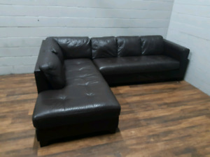 Free delivery: Large Leather Sectional