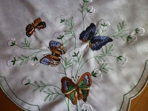 **Embroidered Butterfly Tablecloth or Stand Cover**