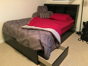 DOUBLE BED WITH BED FRAME, HEADBOARD, AND MATTRESS