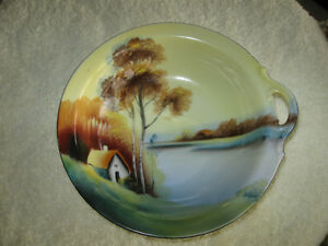 FINE OLD ROUND HAND-PAINTED NORITAKE SINGLE-HANDLED BOWL