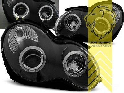 LED Angel Eyes Scheinwerfer für Mercedes Benz W203 Lim T-Modell C-Klasse schwarz